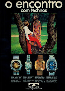 propaganda relógios Technos - 1971.reclame década de 70;  propaganda década de 70; Brazil in the 70s; Reclame anos 70; História dos anos 70; Oswaldo Hernandez;