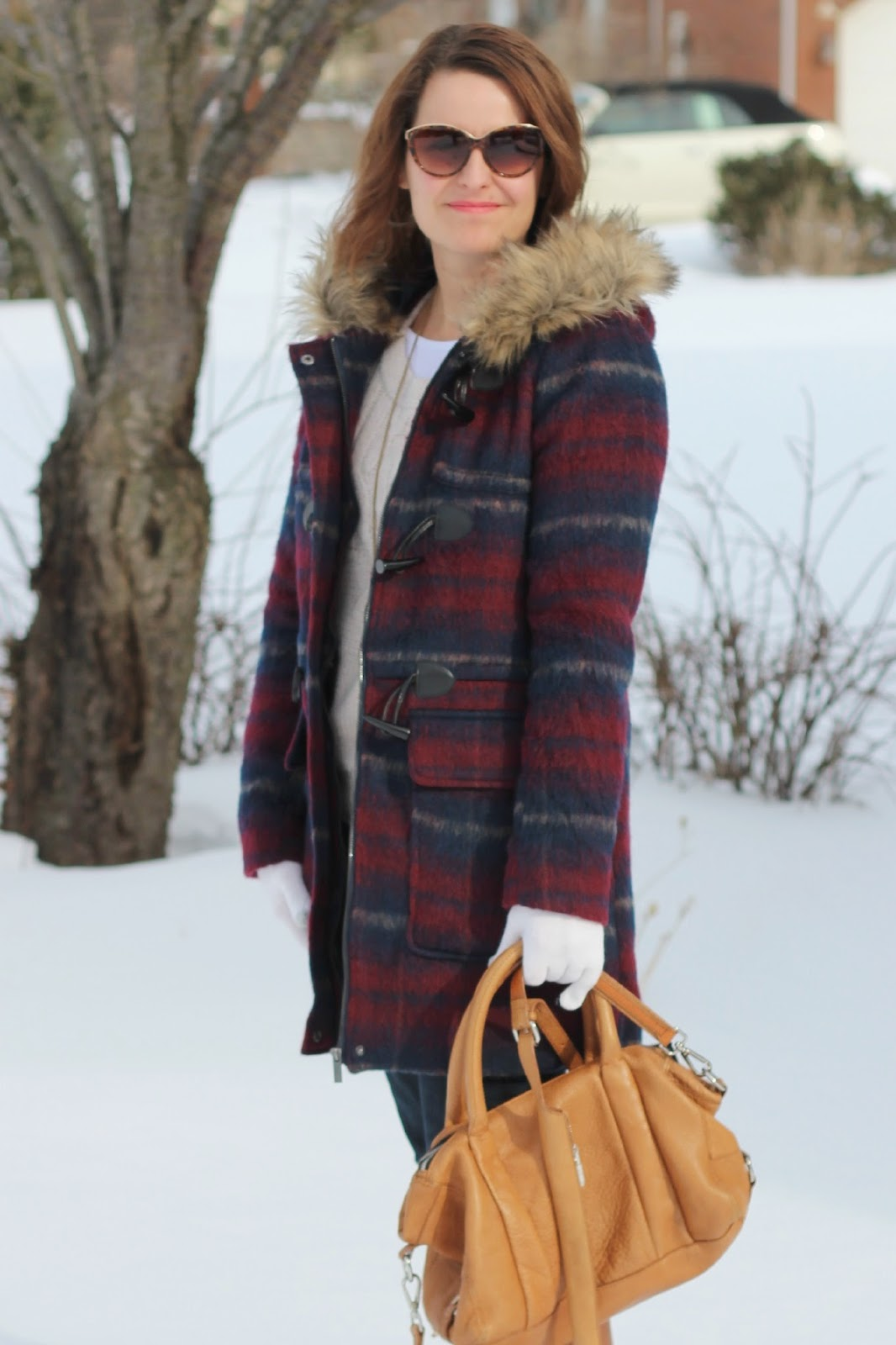 Plaid wool coat, cognac boots, cognac bag, winter look, winter outfit, winter style, snow style