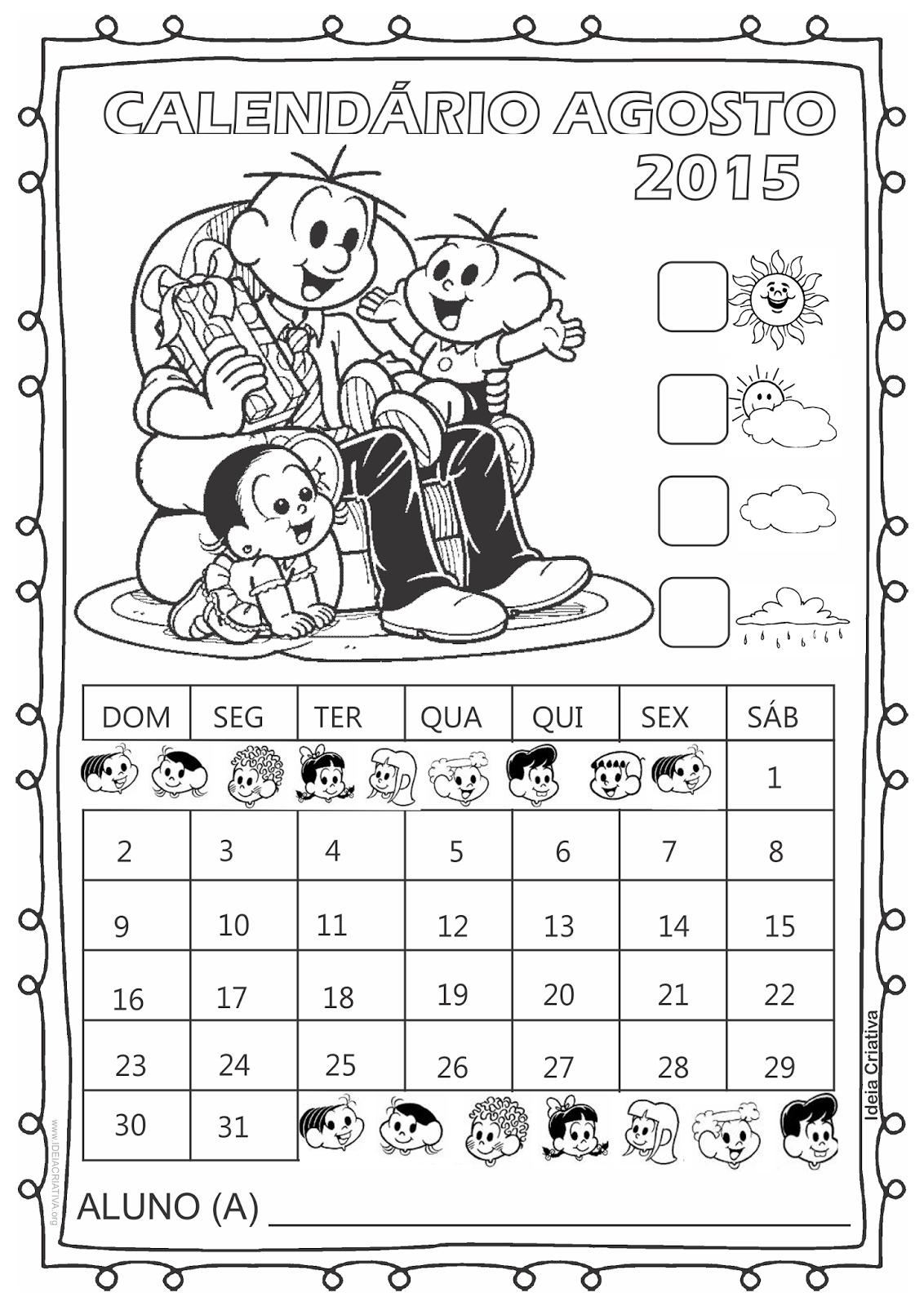 Calendário Turma da Mônica 2015 para Imprimir Grátis Agosto Dia dos pais