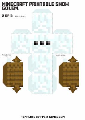 Minecraft Snow Golem - Printable Papercraft 2 of 3