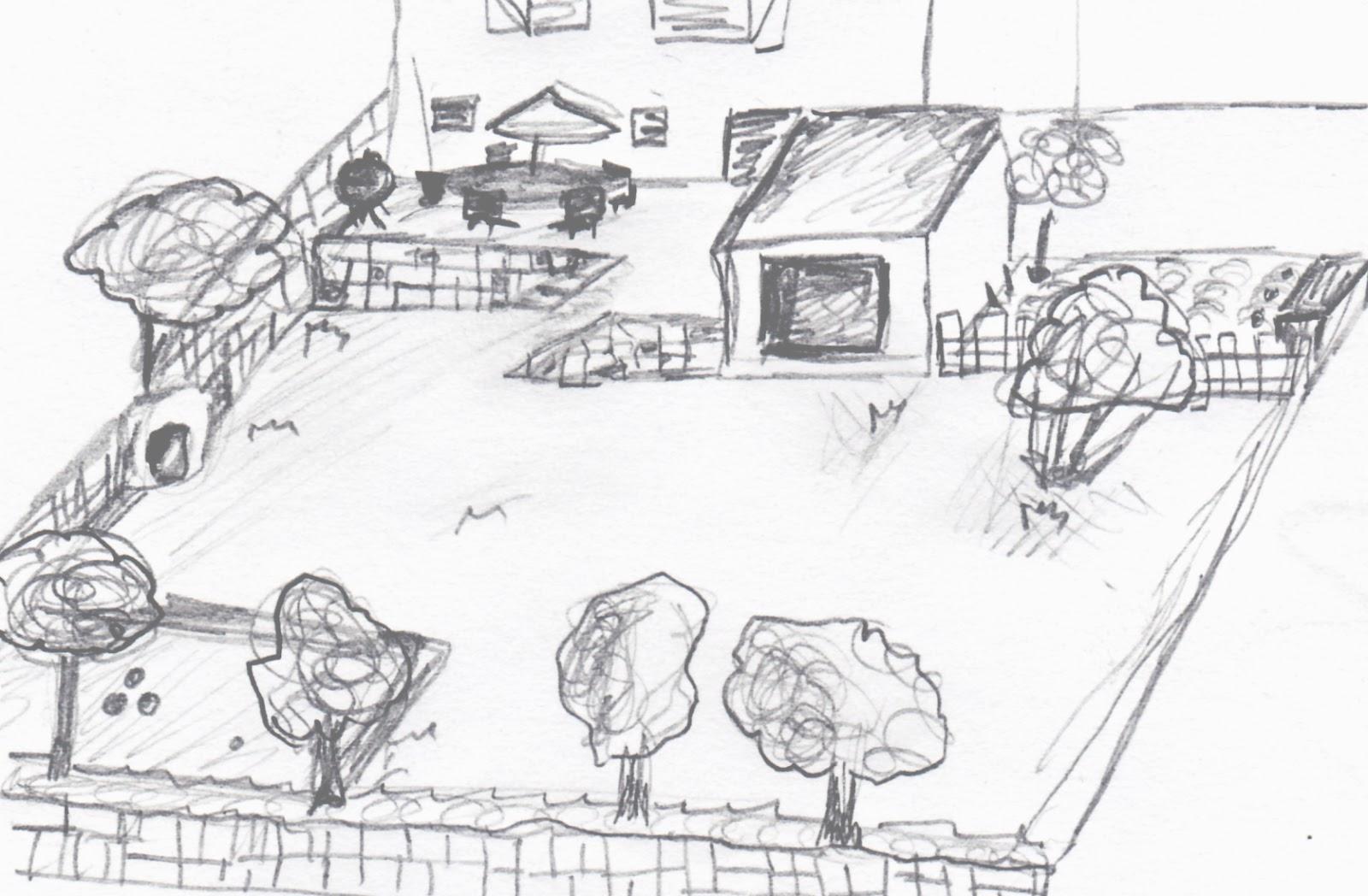 dessin maison avec jardin - Jardin Dessin
