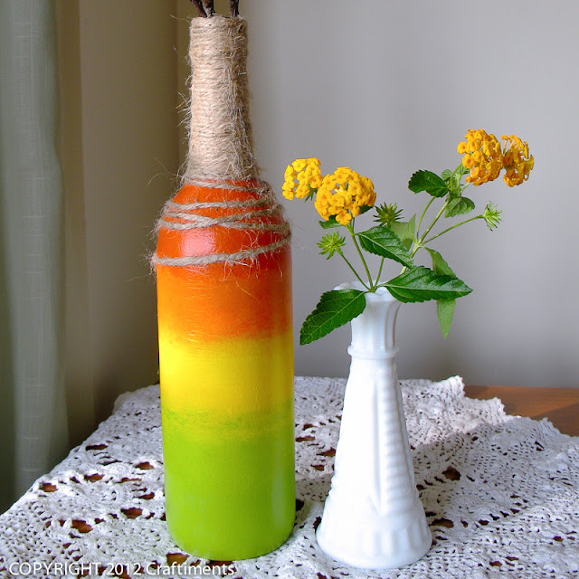 Craftiments:  Tri-Color Ombré Bottle Vase