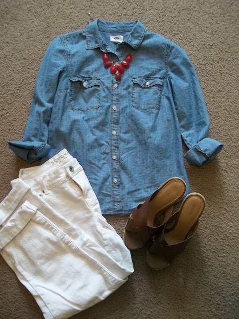 patriotic outfits cute casual unique chambray white jeans boyfriend jeans polka dot blazer red statement necklace