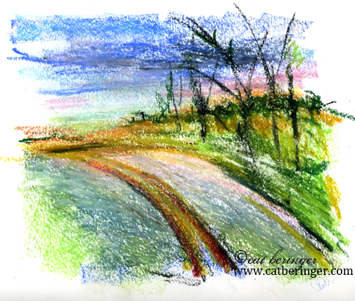 oil pastels, road, sunset, sky,