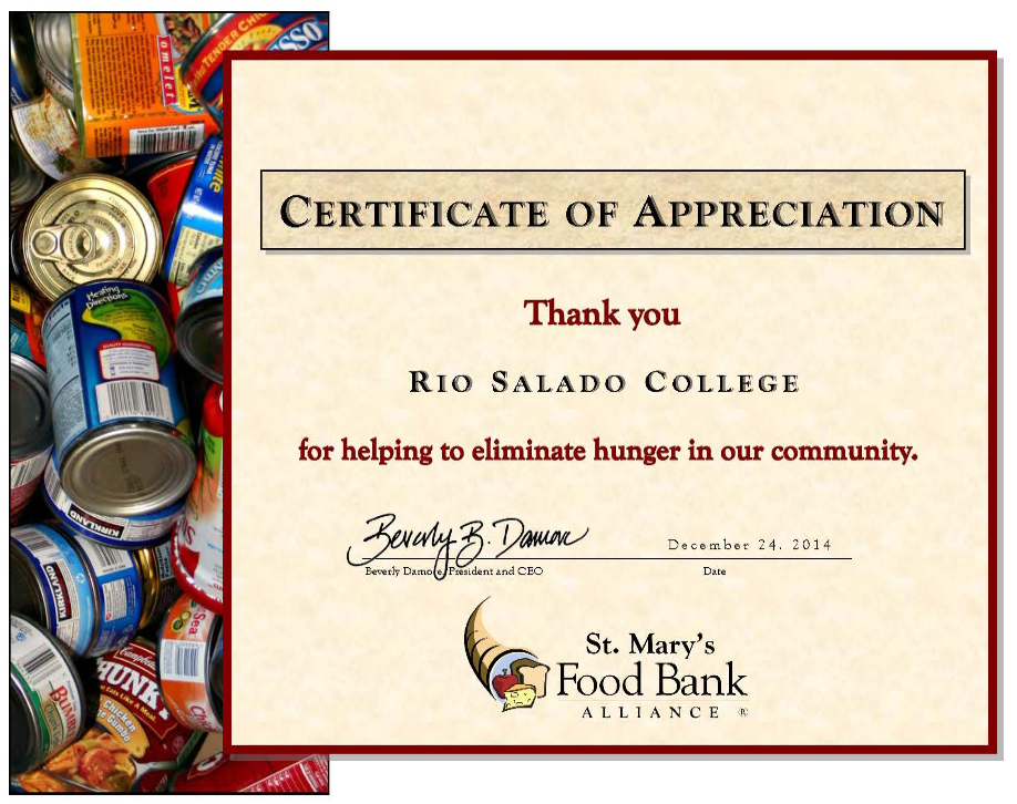 "Cedrtificate of Appreciation to Rio Salado College from St. Mary's Food Bank Alliance on December 24, 2014.  ""for helping to eliminate hunger in our community."""