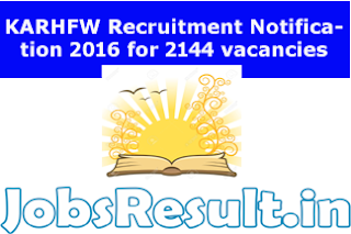 KARHFW Recruitment 2016