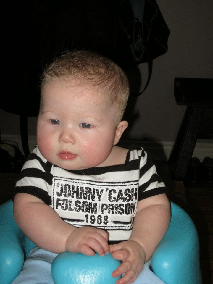 bumboo baby, baby in Johnny Cash onesie