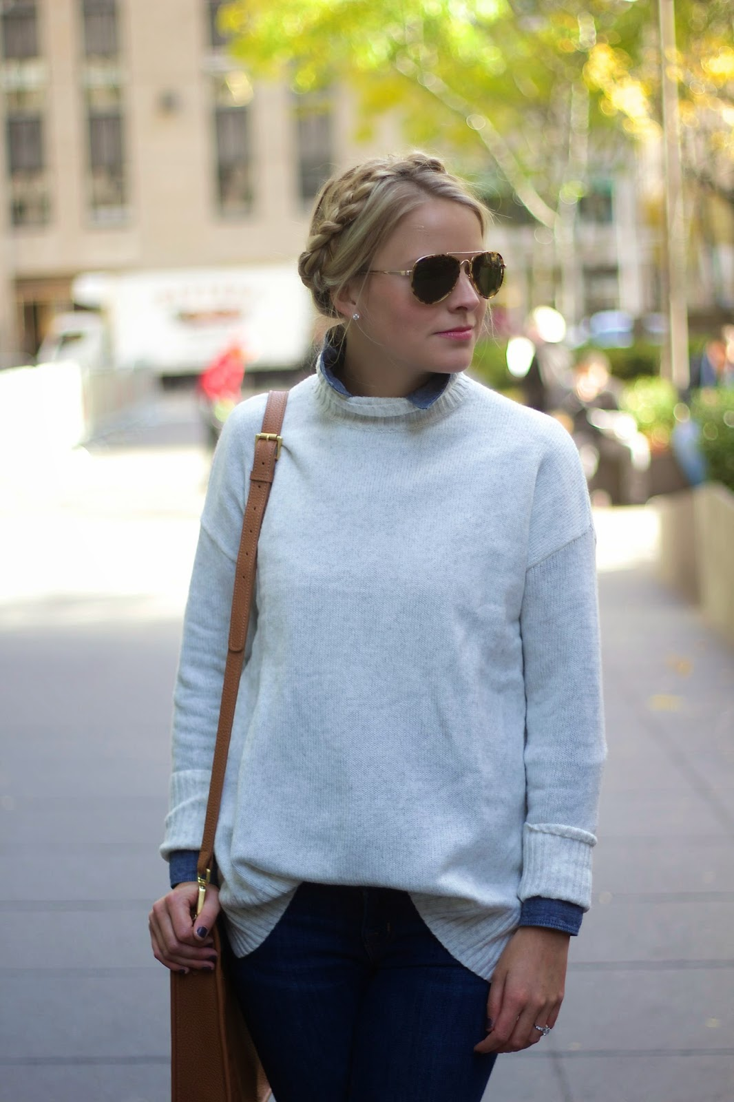 how to layer, milkmaid braids, sweater, oversized sweater, over the knee boots