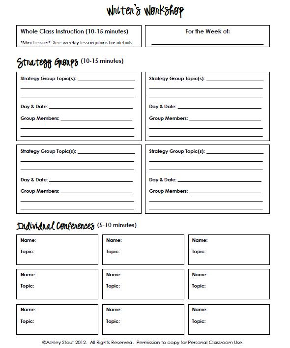 The Real Teachr: Strategy Grouping Template For Reading, Writing