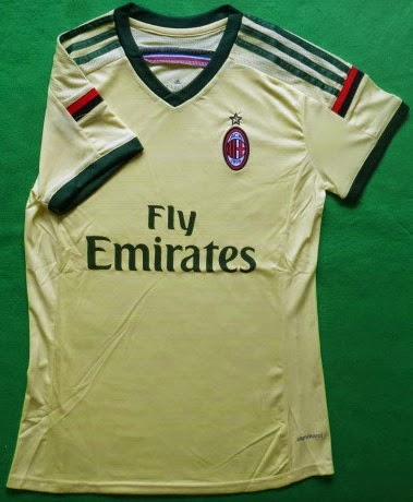 Baju Bola Cewek AC Milan Third Kuning 14-15