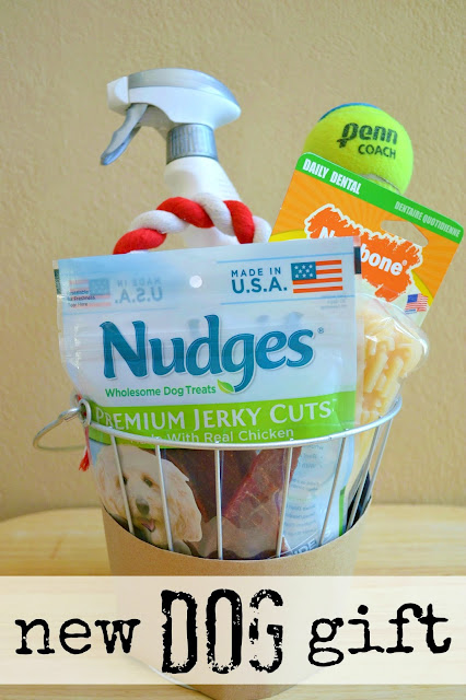 new dog gift basket made with Nudges dog treats made in the USA #NudgesMoments #cbias