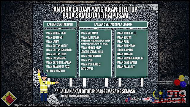 Laluan Ditutup Sempena Sambutan Thaipusam sekitar Ipoh dan Kuala Lumpur