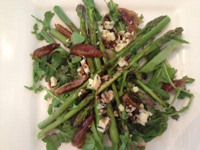 Asparagus-Arugula Salad With Dates and Stilton Cheese
