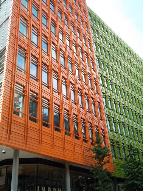 green and orange building Dycott Street London exterior view Google London