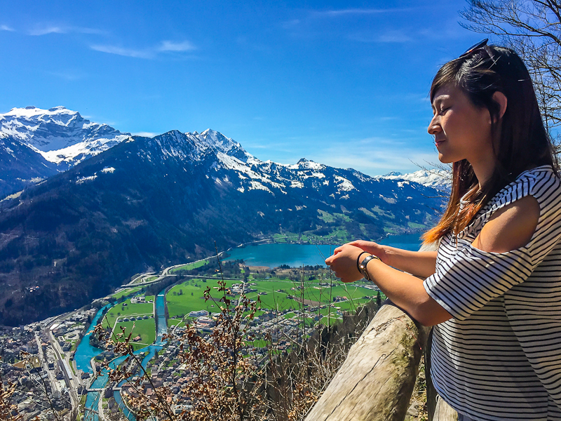Looking out at the view from  Harder Klum look out point in Interlaken Switzerland