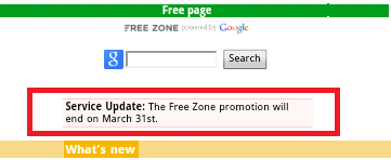 The Free Zone Promotion will end on March 31st Message