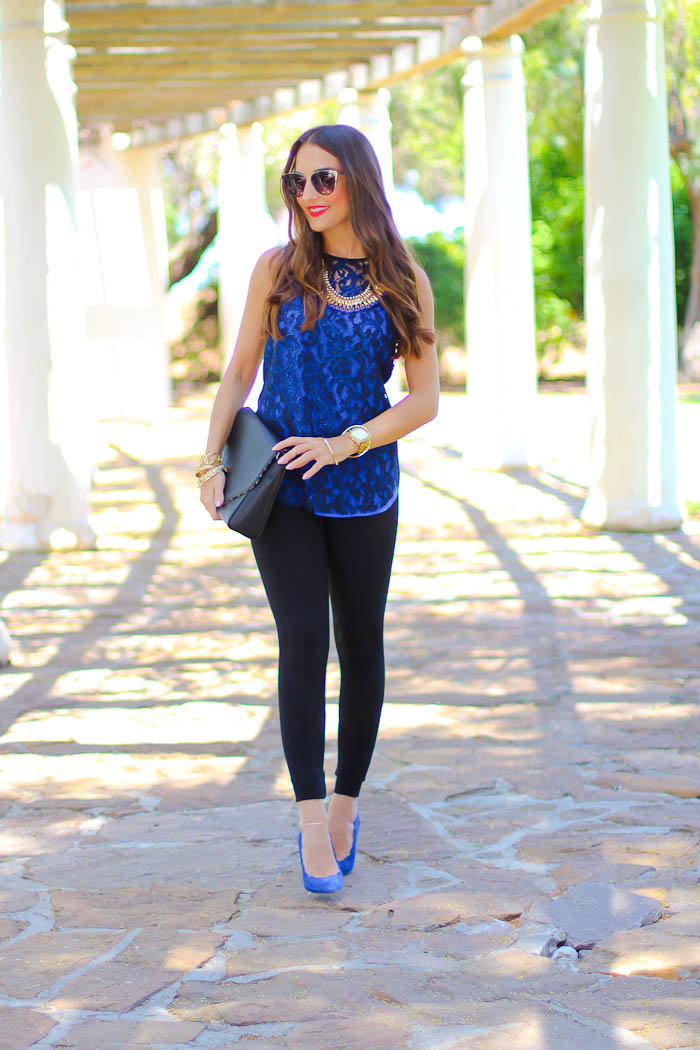 cobalt blue pumps, karen kane. lysse leggings, cat eye, sunglasses