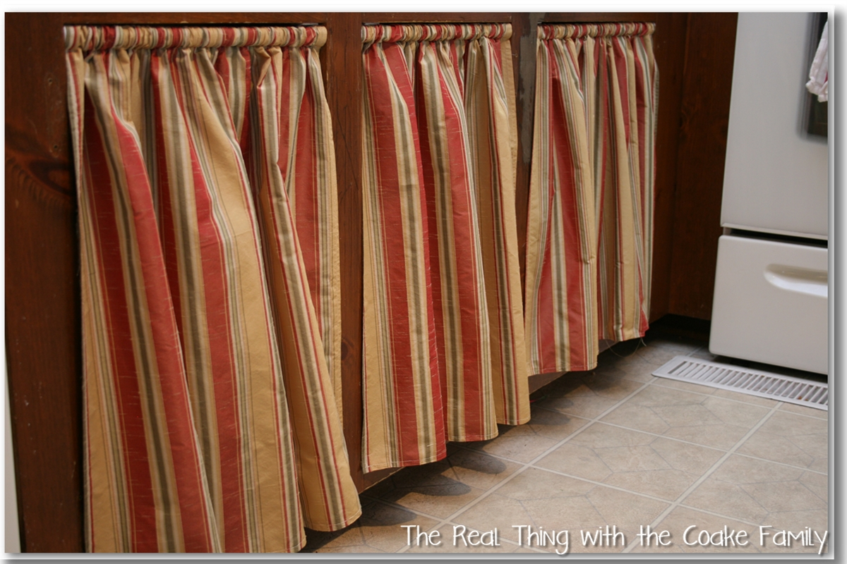Kitchen cabinet ideas curtains for cabinet doors the real thing with the coake family - Curtain for kitchen door ...