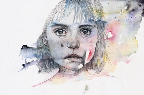 10-Little-Girl-Shadow-Silvia-Pelissero-agnes-cecile-Watercolor-and-Oil-Paintings-Fading-and-Appearing-www-designstack-co