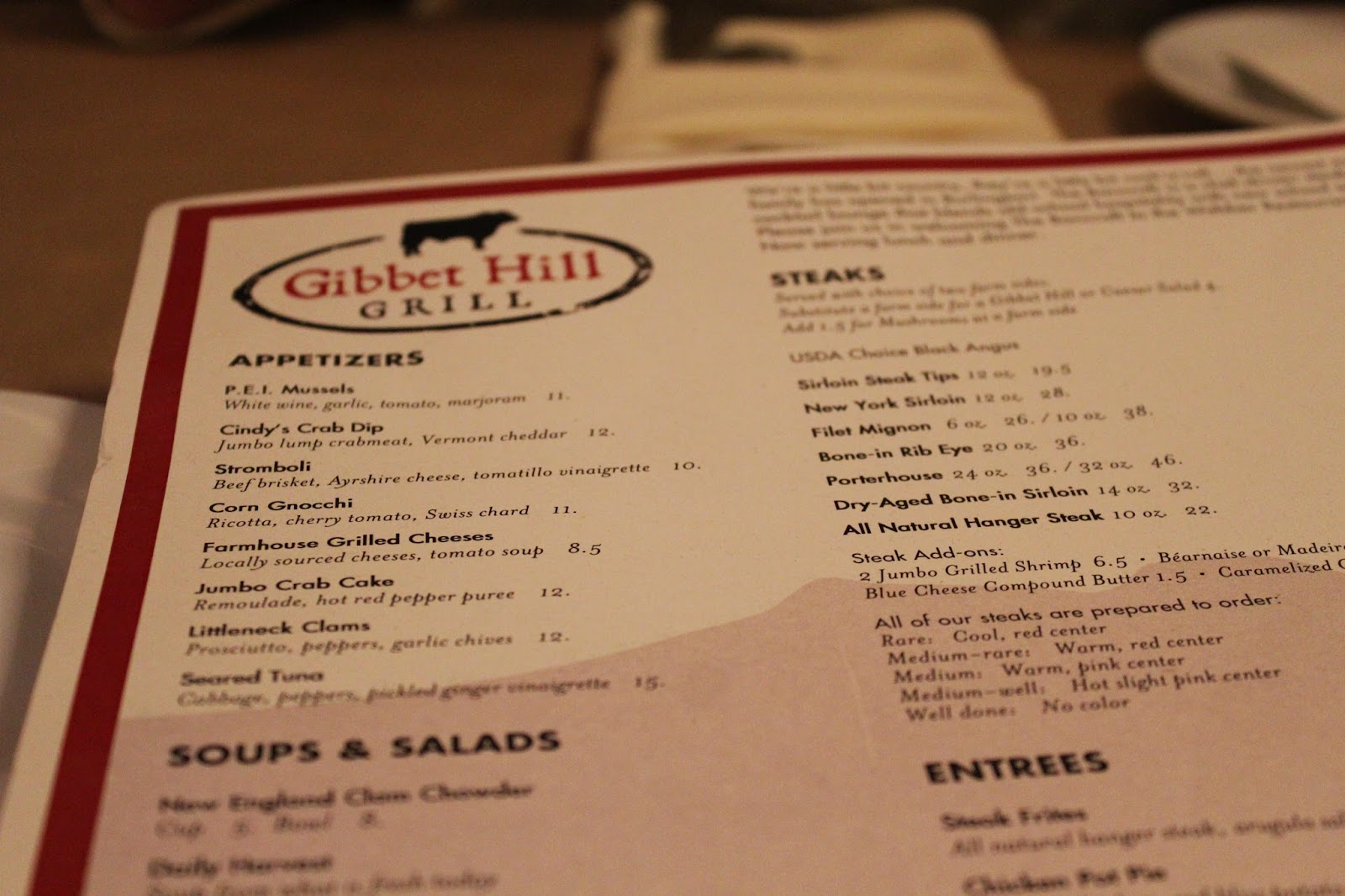 Menu at Gibbet Hill Grill, Groton, Mass.
