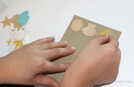 1 2 3 simple steps to beautiful handmade cards happiness is homemade he skipped step 2 and went straight to the final embellishing but i still think he did pretty darn good job he settled on a seashell pattern and decided m4hsunfo