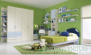 Ruang kamar anak sehat warna Hijau