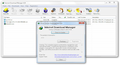 Versi terbaru Internet Download Manager yaitu v6.05 Build 2