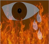 a graphic of an eye and 3 tears streaming down the face seen through a curtain of flames signifying hell and pain in hell