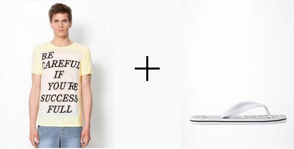 camiseta amarillo pastel que combinan con chanclas blancas