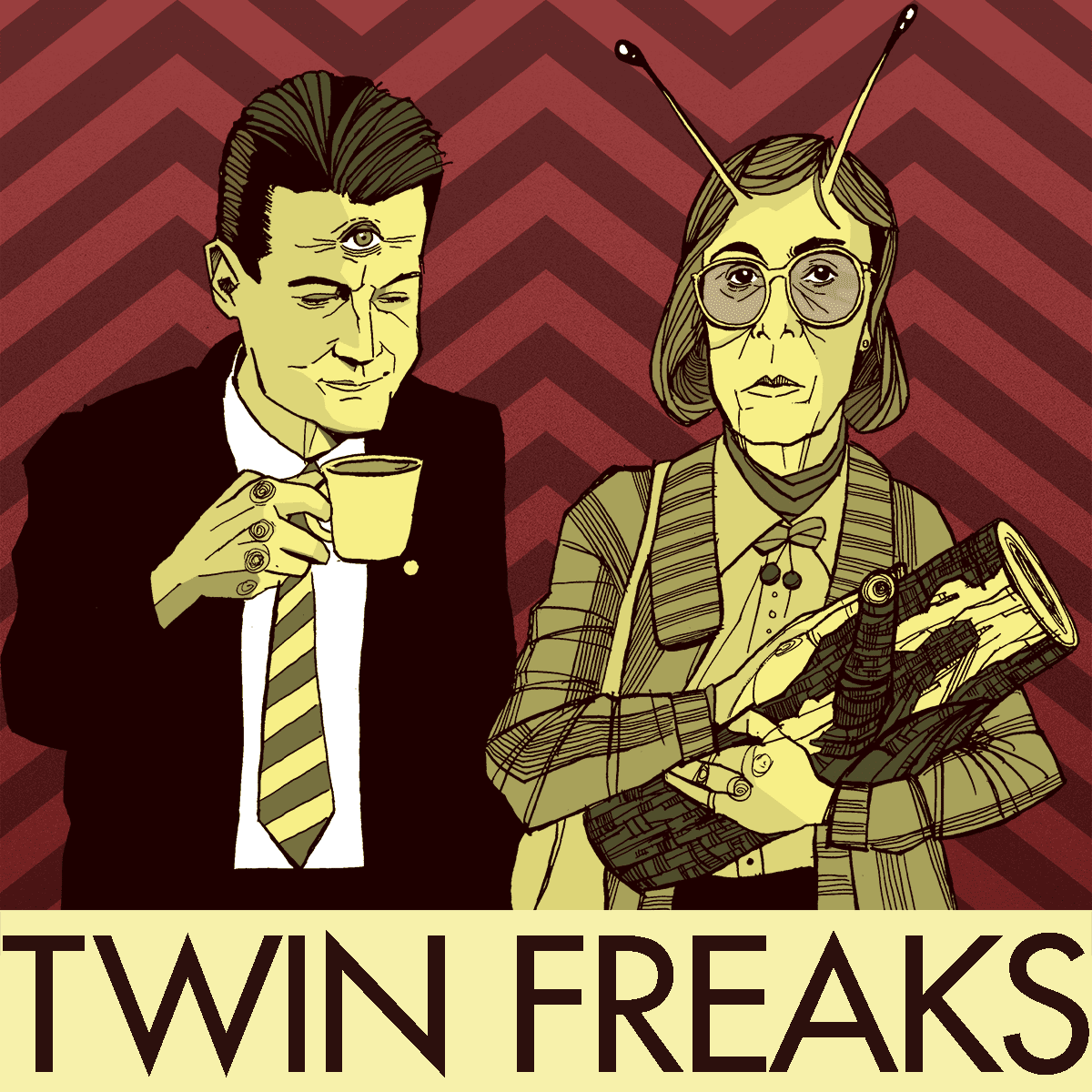 Twin Peaks Poster - Agent Dale Cooper and Log Lady