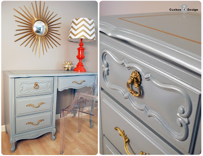 grey french provincial dresser with gold accents and sunburst mirror