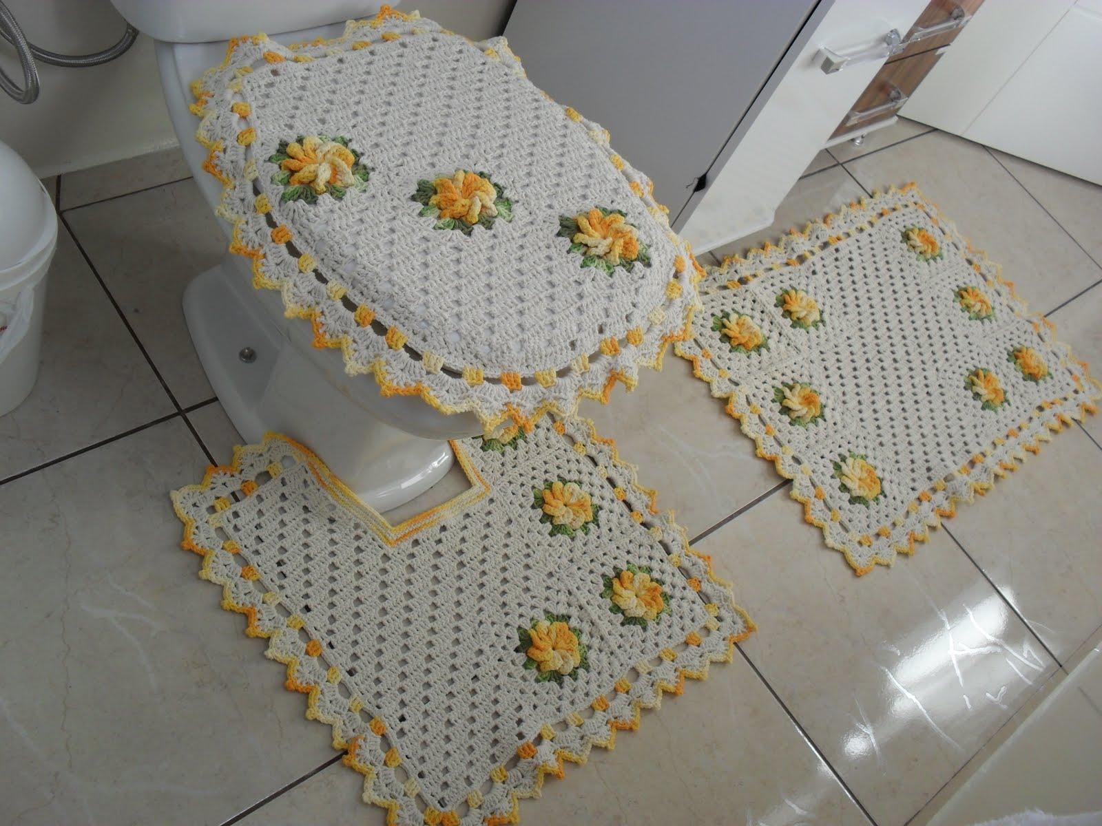 Crochê Fascínio: Jogo de banheiro com flores catavento #997232 1600 1200