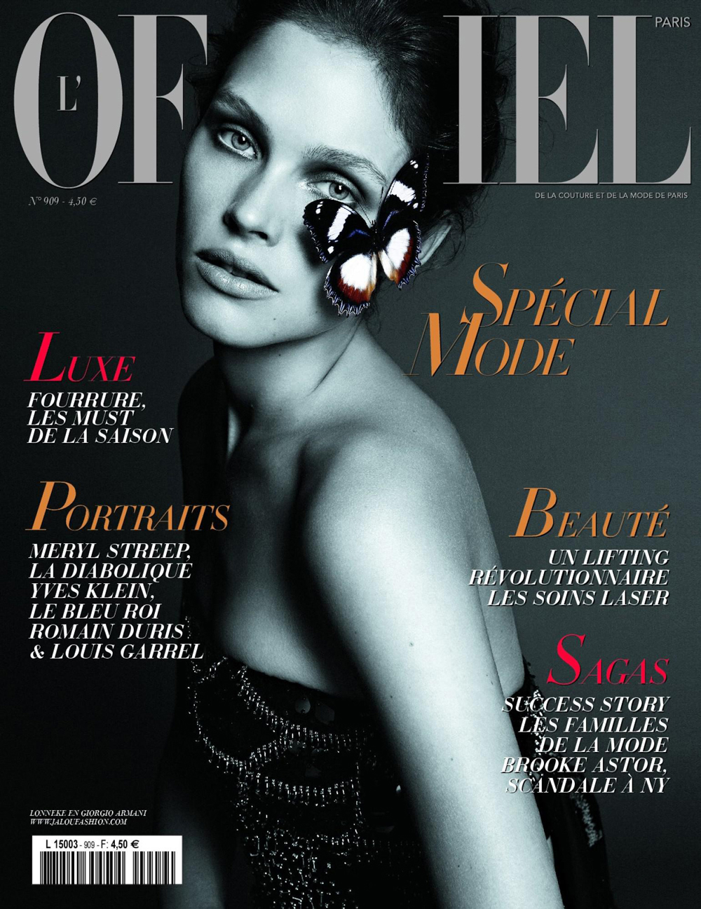 Lonneke Engel wearing Giorgio Armani for L'Officiel France October 2006 / exclusive interview with Lonneke Engel / fashion models beauty secrets / via fashioned by love british fashion blog