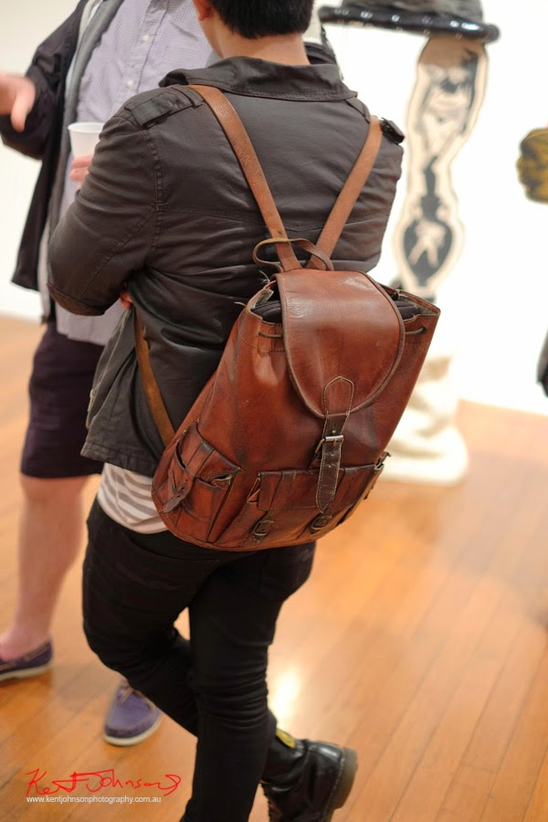 Brown leather knapsack with exterior pockets, vintage style - Street Fashion Sydney by Kent Johnson.