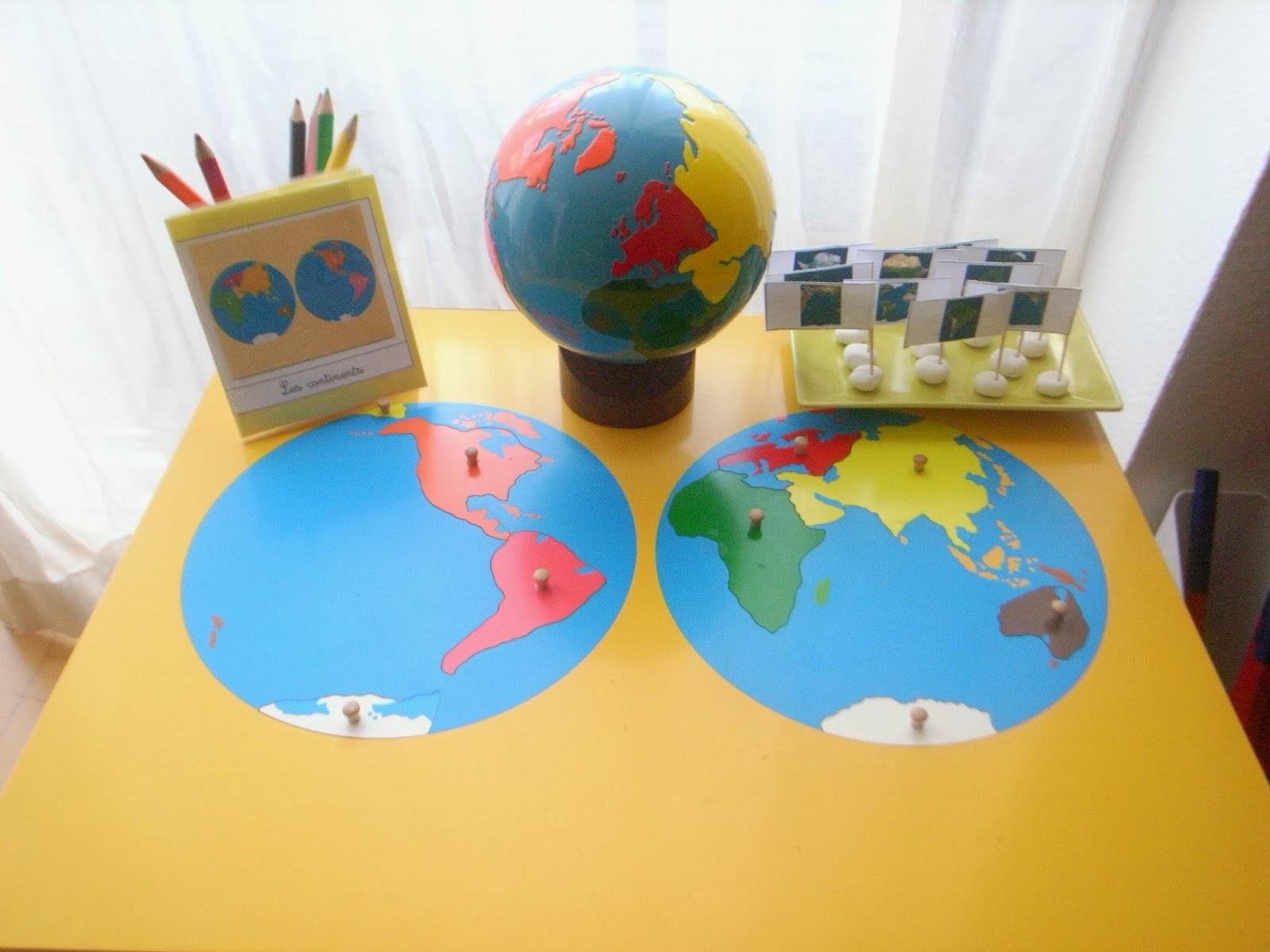 Bien-aimé Les Montessouris: Globe et planisphère Montessori TF55