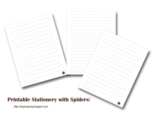 Free Printable Halloween Stationery with Spiders