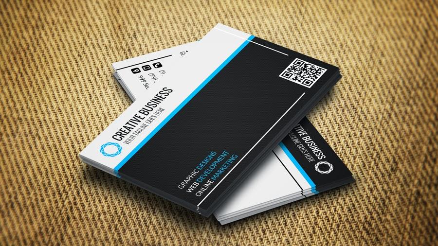 كرت شخصى او بطاقة اعمال باللون ( اسود فى ازرق) business cards templates