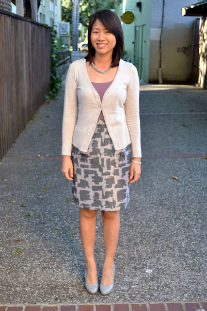 sacramento office fashion blogger angeline evans the new professional blog business casual banana republic factory skirt loft tank hm cardigan target mossimo heels
