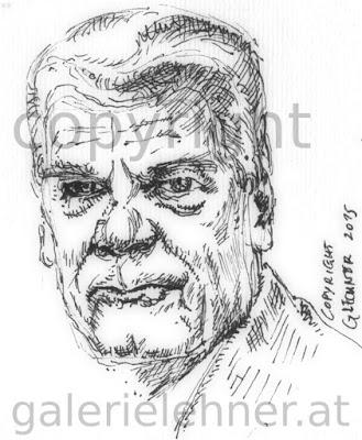 Gauck, Bundespräsident, deutscher, Joachim, Zeichnung, Feder, Tusche