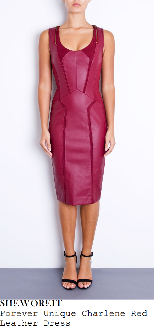 catherine-tyldesley-burgundy-red-leather-dress