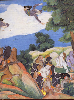 Indrajit, the son of Ravana and his most feared warrior, flies unseen in the sky raining down magical snake-arrows which blind Rama and his army, rending them powerless.