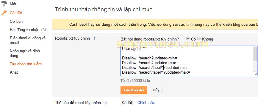 Tùy chỉnh Robots.txt trong Blogspot
