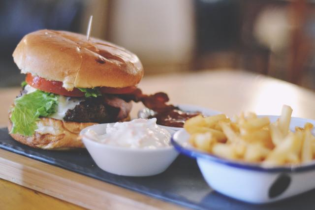 Burger and chips at Next Door Odiham