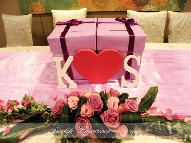 婚礼装饰服务, initial, wooden alphabet, purple, sheraton imperial hotel KL, kuala lumpur, selangor, reception table decoration