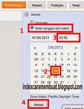 mengatur tanggal dan waktu penerbitan artikel
