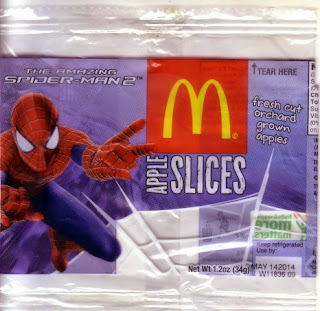 Front of McDonald's The Amazing Spider-Man 2 apple slices wrapper