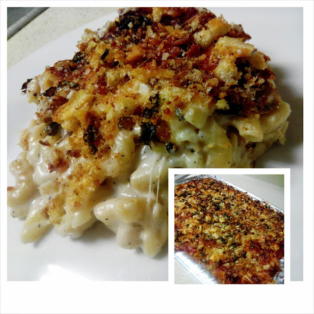 White Mushroom Mac And Cheese With Bacon Breadcrumb Topping