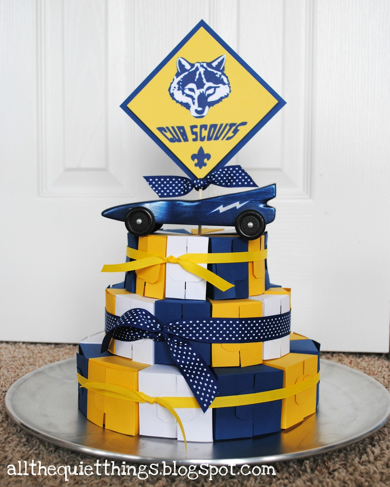 "is the ""cake"" I made for the Cub Scout Blue and Gold Banquet tonight"