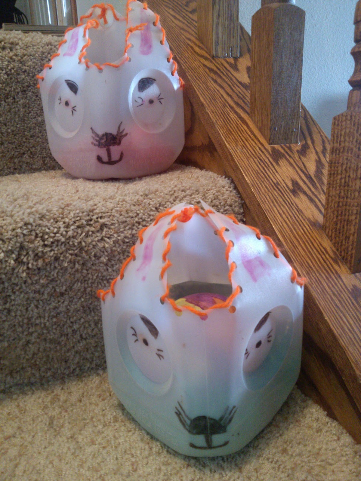 Cheapskate 4 life easter inspiration diy easter bunny baskets recycled milk jug easter bunny baskets negle Choice Image
