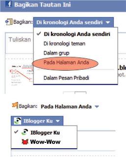 Berbagi tautan ke facebook